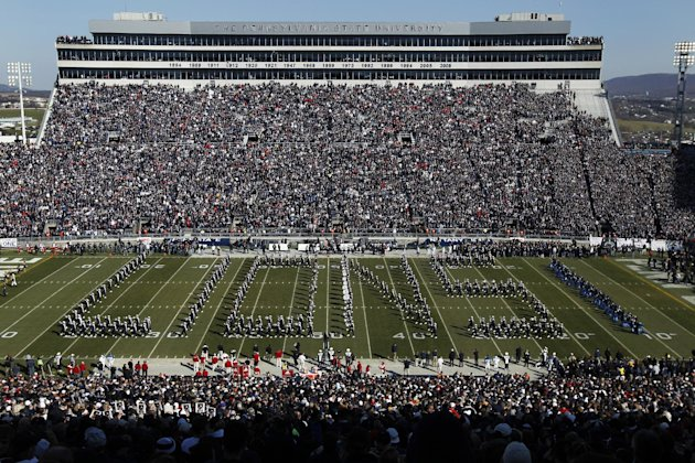 FILE - In this Nov. 12, 2011, file photo, Penn State&#39;s Blue Band performs before an NCAA college football game between Nebraska and Penn State in State College, Pa. The NCAA crushed Penn State with scholarship reductions that could be felt for the rest of this decade and a bowl ban over the next four seasons. But it stopped short of handing down the death penalty, which would have forced the school to shut down the program the way it did to SMU in 1987, allowing Penn State to prepare for their Sept. 1, 2012, opener against Ohio. (AP Photo/Matt Rourke, File)