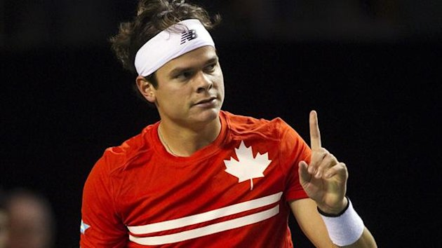 Canada's Milos Raonic reacts after winning a game against Spain's Albert Ramos during the first round of the Davis Cup in Vancouver (Reuters)