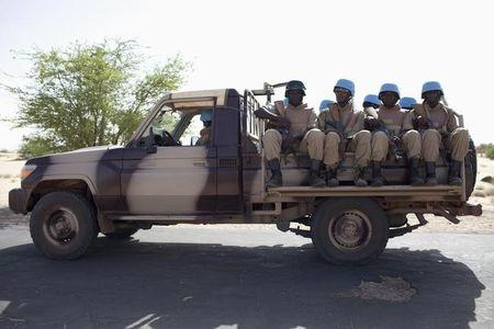 UN peacekeepers from Burkina Faso patrol ahead of elections in Timbuktu
