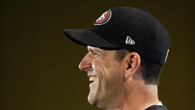 San Francisco 49ers head coach Jim Harbaugh laughs at a question during a news conference on Monday, Jan. 28, 2013, in New Orleans. The 49ers are scheduled to play the Baltimore Ravens in the NFL Super Bowl XLVII football game on Feb. 3. (AP Photo/Mark Humphrey)