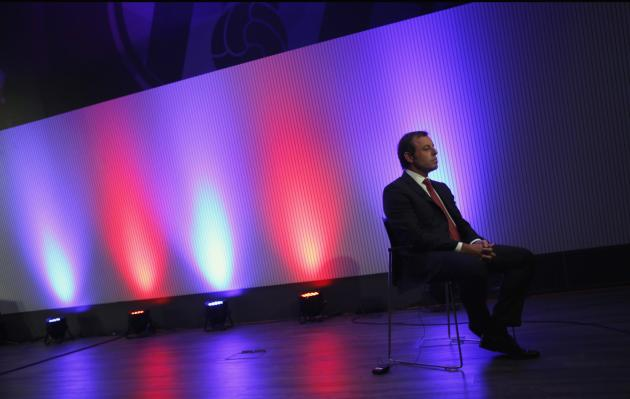 Barcelona president Rosell sits during a TV interview in Barcelona