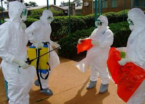 Officials from the World Health Organization wear protective …