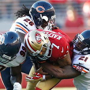 San Francisco 49ers quarterback Colin Kaepernick sacked by Chicago Bears defensive end Willie Young