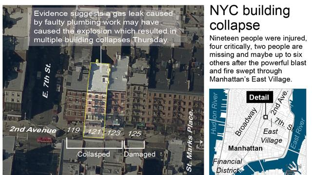 Map locates a building collapse in Manhattan and has been updated with the latest information; 3c x 3 inches; 146 mm x 76 mm;