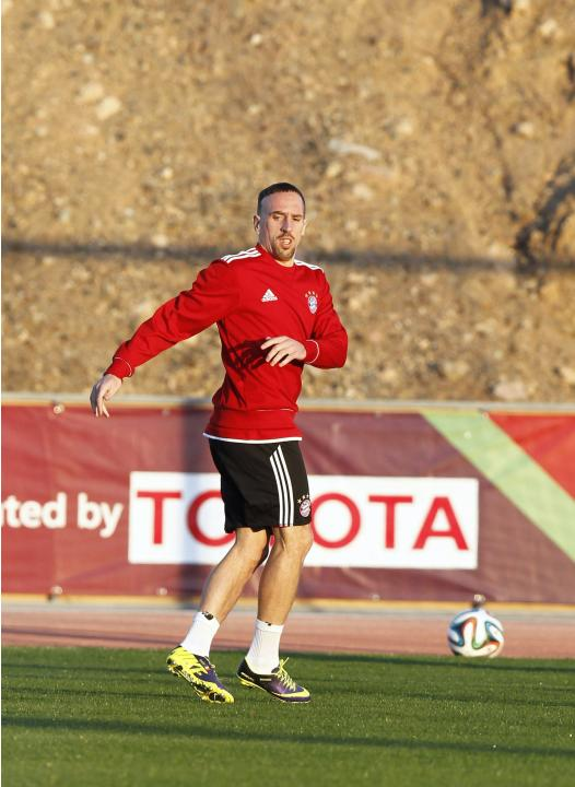 Bayern Munich's Franck Ribery attends a training session in Marrakech Stadium