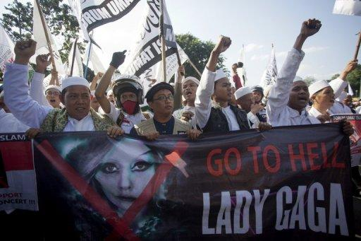 "Indonesian Islamic hardliners are calling Lady Gaga a ""devil's messenger"" who wears only a ""bra and panties"" on stage"