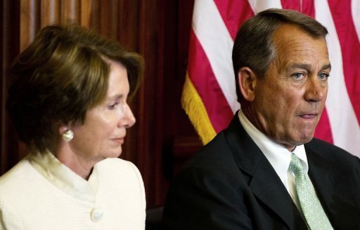 "<p>US Speaker of the House John Boehner (R) and House Minority Leader Nancy Pelosi (L) attend an event on Capitol Hill as the House of Representatives meet to consider the ""Repeal of Obamacare Act"" in Washington. US lawmakers voted Wednesday to repeal the law, a contentious move by Republicans aimed at striking down one of Obama's key achievements in an election year.</p>"
