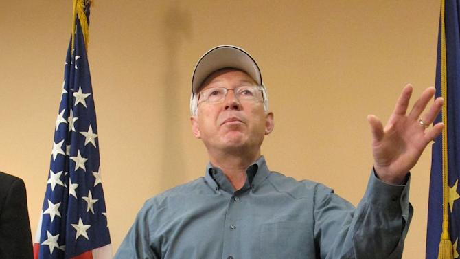 U.S. Interior Secretary Ken Salazar speaks during a news conference Monday, Aug. 13, 2012, in Anchorage, Alaska. Salazar said the proposed plan for the National Petroleum Reserve-Alaska will leave more than half of the 23-million acre reserve available for development or construction of infrastructure, such as a pipeline that could carry oil from leases in the Chukchi Sea to the trans-Alaska pipeline. (AP Photo/Mark Thiessen)