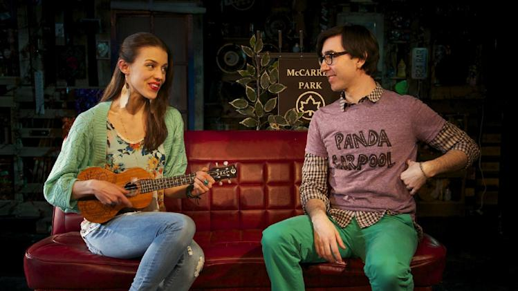 "This March 21, 2013 theater image released by Springer Associates PR shows, Katherine Cozumel, left, and Max Crumm during a performance of ""F#%king Up Everything,"" in New York. (AP Photo/Springer Associates PR, T Charles Erickson)"