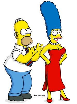 Homer (voiced by Dan Castellaneta) ogles a surgically-enhanced Marge (voiced by Julie Kavner) in the episode 'Large Marge.' Fox's The Simpsons
