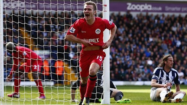 Wigan Athletic's Callum McManaman celebrates his goal against West Bromwich Albion during their English Premier League soccer match at The Hawthorns in West Bromwich, central England, May 4, 2013 (Reuters)