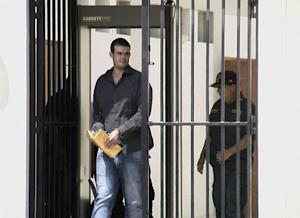 Dutch citizen Van der Sloot walks to a courtroom at the Piedras Gordas prison in Lima