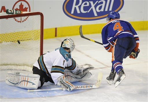 Hall, Dubnyk lead Oilers to SO win over Sharks
