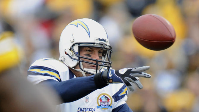 San Diego Chargers quarterback Philip Rivers (17) passes in the first quarter of an NFL football game against the Pittsburgh Steelers on Sunday, Dec. 9, 2012, in Pittsburgh. (AP Photo/Don Wright)