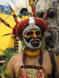 A member of the Papua New Guinea delegation at the recent ITB Berlin travel show