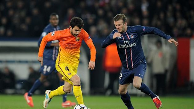 David Beckham, right, felt PSG were good value for a share of the spoils against Barcelona