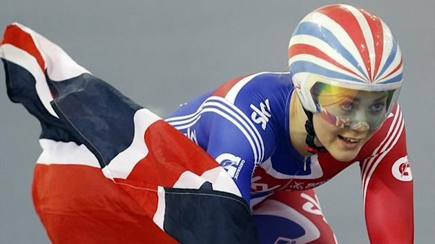 Jess Varnish celebrates winning gold in the Women&#39;s Team Sprint Final with Victoria Pendleton at the UCI Track Cycling World Cup at the Olympic Velodrome in London (Reuters)