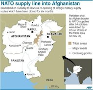 Map showing major supply routes to Afghanistan through Pakistan. Pakistan has ordered officials to finalise an agreement as quickly as possible on lifting a six-month blockade on overland NATO supplies into war-torn Afghanistan