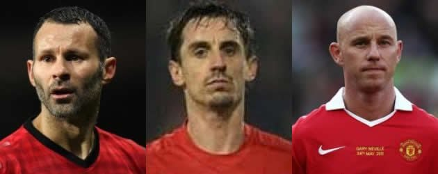 Man Utd legends Ryan Giggs (L), Gary Neville (M) and Nicky Butt (R) to come to Singapore in June.