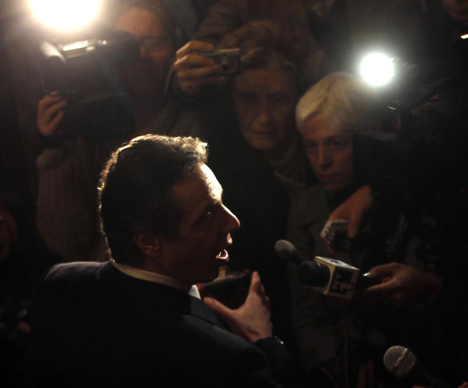 New York Gov. Andrew Cuomo talks to reporters at the Capitol in Albany, N.Y., Monday, Jan. 10, 2011.  (AP Photo/Mike Groll)