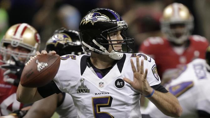 Baltimore Ravens quarterback Joe Flacco (5) passes against the San Francisco 49ers during the first half of NFL Super Bowl XLVII football game, Sunday, Feb. 3, 2013, in New Orleans. (AP Photo/Bill Haber)