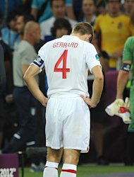 England's Steven Gerrard appears dejected after the final whistle