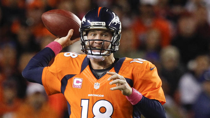 Denver Broncos quarterback Peyton Manning (18) throws against the New Orleans Saints in the first quarter of an NFL football game, Sunday, Oct. 28, 2012, in Denver. (AP Photo/David Zalubowski)