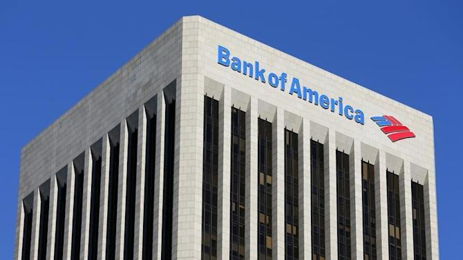 A Bank of America sign is shown on a building in downtown Los Angeles, California