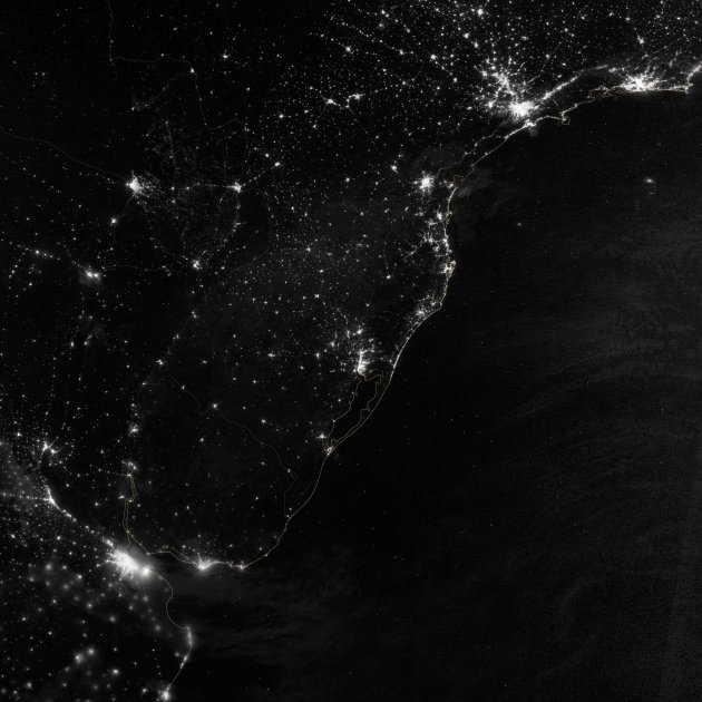 A NASA Earth Observatory image shows part of the Atlantic coast of South America on the night of June 20, 2012