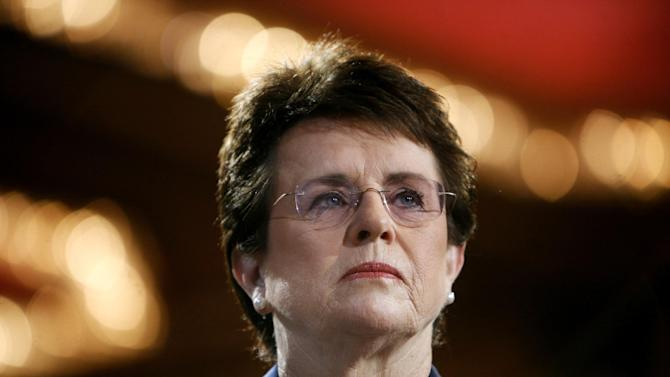 FILE - In this June 4, 2007, file photo, tennis champion Billie Jean King is introduced during a town hall conversation hosted by the group Women for Hillary in New York. The White House says King and U.S. Ambassador to Russia Michael McFaul will join the opening ceremonies of the Winter Olympics next year in Sochi, Russia. (AP Photo/Jason DeCrow, File)