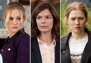 Anna Paquin, Jeanne Tripplehorn, Mireille Enos | Photo Credits: John P. Johnson/HBO; Monty Brinton/CBS; Chris Large/AMC