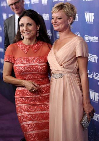 Julia Louis-Dreyfus, left, and Martha Plimpton pose together at the Variety and Women in Film Pre-Emmy Event at Scarpetta on Friday, Sept. 21, 2012, in Beverly Hills, Calif. (Photo by Matt Sayles/Invision/AP)