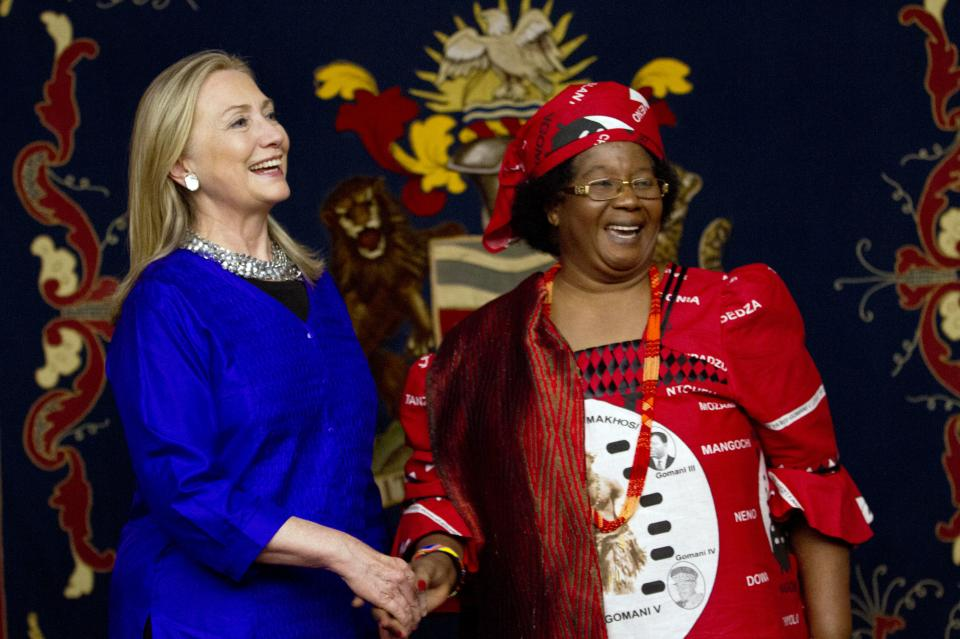 U.S. Secretary of State Hillary Rodham Clinton, left, meets with Malawi's President Joyce Banda at the State House in Lilongwe, Malawi, on Sunday, Aug. 5, 2012. This is the first visit to Malawi by any U.S. Secretary of State. (AP Photo/Jacquelyn Martin, Pool)