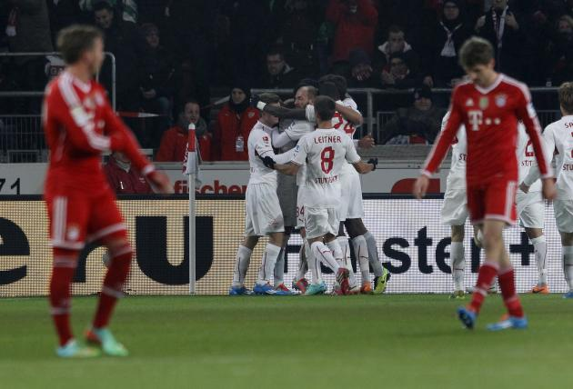 Stuttgart's players celebrate a goal during their German first division Bundesliga soccer match against Bayern Munich in Stuttgart