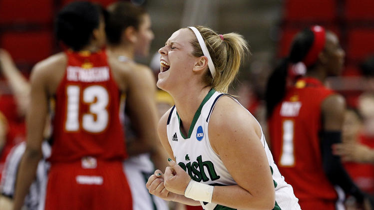 Notre Dame's Brittany Mallory reacts following a basket during the first half of an NCAA women's college basketball tournament regional final against Maryland in Raleigh, N.C., Tuesday, March 27, 2012. (AP Photo/Gerry Broome)