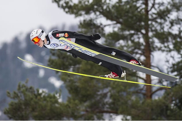 Slovenia's Jurij Tepes jumps during the FIS Ski Flying World Cup 2011-2012 in Planica on March 18, 2012.  AFP PHOTO / Jure Makovec (Photo credit should read Jure Makovec/AFP/Getty Images)