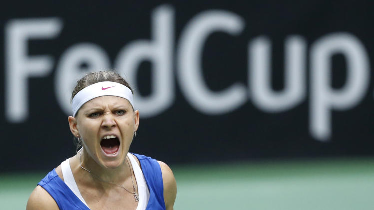Czech Republic's Lucie Safarova reacts after winning the first set against Australia's Samantha Stosur during their world group first round Fed Cup singles tennis match in Ostrava, Czech Republic, Saturday, Feb. 9, 2013. (AP Photo/Petr David Josek)