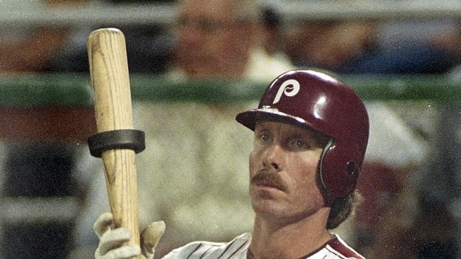 FILE - In this June 14, 1988, file photo, Philadelphia Phillies slugger Mike Schmidt waits in the on-deck circle during a baseball game against the Montreal Expos in Philadelphia. (AP Photo/File)