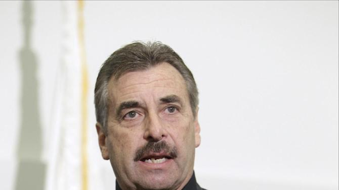 FILE - In this Dec. 4, 2012 file photo, Los Angeles Police Chief Charlie Beck announces that four suspects have been arrested in Las Vegas, in the case of the slayings of four people who were found dead in front of an unlicensed boarding house, during a news conference in Los Angeles. Beck is among 11 celebrities and government officials whose private financial information appears to have been posted online by a site that began garnering attention on Monday, March 11, 2013. (AP Photo/Damian Dovarganes, File)