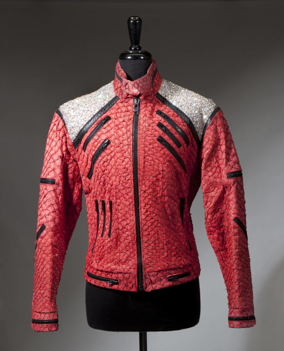 "An undated image released by Julien's Auctions, shows a  a Michael Jackson ""Beat It"" style jacket used on stage during the 1992-1993 Dangerous Tour. This item is part of Julien's Auctions  worldwide t"