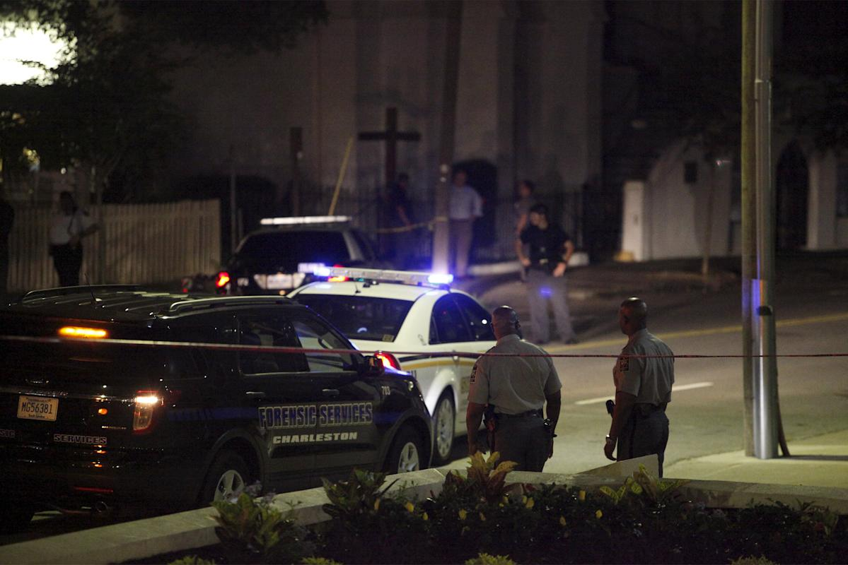Police respond to a shooting at the Emanuel AME Church in Charleston