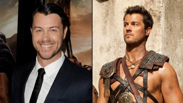 Dan Feuerriegel at the 'Spartacus: War of the Damned' premiere in LA (left) and as Agron in the Starz series (right) -- Getty ImagesStarz