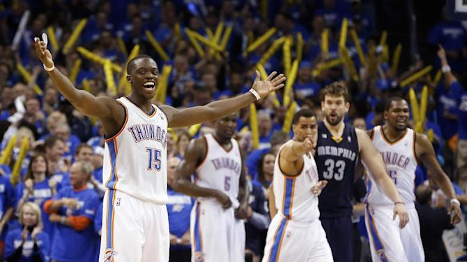 Oklahoma City Thunder guard Reggie Jackson (15) reacts to the crowd after Memphis Grizzlies forward Quincy Pondexter missed a foul shot in the fourth quarter of Game 1 of their Western Conference semifinal NBA basketball playoff series in Oklahoma City, Sunday, May 5, 2013. Oklahoma City won 93-91. (AP Photo/Sue Ogrocki)
