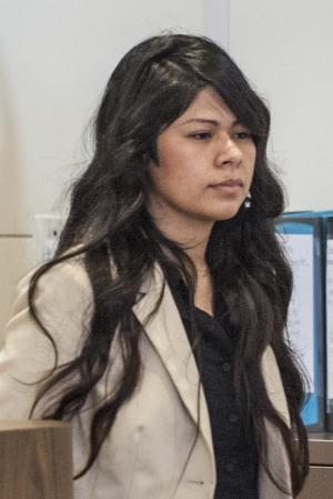 FILE - Vanesa Zavala enters court in Santa Ana, Calif., …