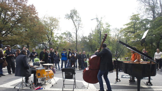 Rockjazz pianist ELEW performs at the inaugural Jazz & Colors Festival, Saturday, Nov. 10, 2012, in New York's Central Park.   The free public concert set against the backdrop of Central Park's fall foliage, featured 30 jazz ensembles performing at iconic sites throughout the park.   Visit www.jazzandcolors.com for more information. (Photo by Diane Bondareff/Invision for Jazz & Colors/AP Images)