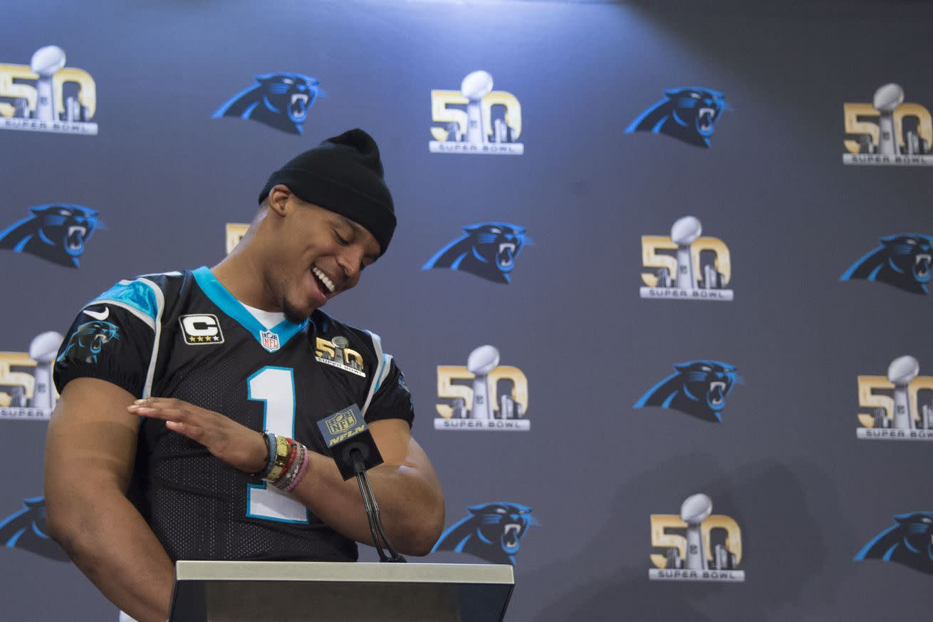 Cam Newton celebrated winning the MVP by dabbin' on his doubters