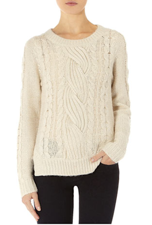 White Cable Elbow Patch Sweater, $49, Miss Selfridge