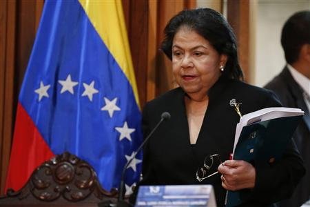 Luisa Estella Morales, President of the Venezuelan Supreme Court of Justice (TSJ), arrives at a news conference in Caracas January 9, 2013. Venezuela will postpone the inauguration of President Hugo Chavez for a new term due to health problems, the government said on Tuesday, another sign the socialist leader's cancer may be bringing an end to his 14 years in power. REUTERS/Jorge Silva