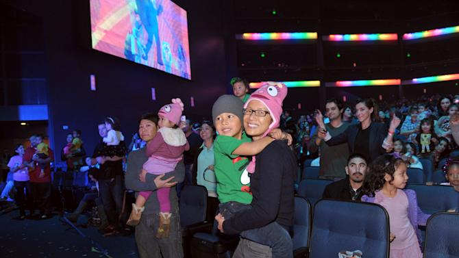 A general view of the audience at Yo Gabba Gabba! Live!: Get The Sillies Out! 50+ city tour kick-off performance on Thanksgiving weekend at Nokia Theatre L.A. Live on Friday Nov. 23, 2012 in Los Angeles. (Photo by John Shearer/Invision for GabbaCaDabra, LLC./AP Images)