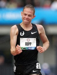 Galen Rupp celebrates as he crosses the finish line to win the men's 10,000m final during Day One of the 2012 US Olympic Track & Field Team Trials at Hayward Field, on June 22, in Eugene, Oregon. Rupp claimed the men's crown in the time of 27min 25.33sec